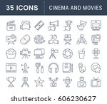 set vector line icons  sign and ... | Shutterstock .eps vector #606230627