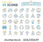 set vector line icons  sign and ... | Shutterstock .eps vector #606230639