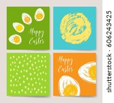 happy easter vintage background.... | Shutterstock .eps vector #606243425