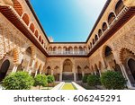 palace of alcazar  famous... | Shutterstock . vector #606245291