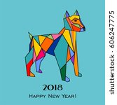 2018 happy new year greeting... | Shutterstock .eps vector #606247775