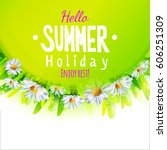 hello summer card with green... | Shutterstock . vector #606251309