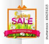 spring sale orange frame with... | Shutterstock . vector #606251315