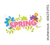 spring vector design. spring... | Shutterstock .eps vector #606251951