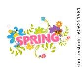 spring vector design. spring... | Shutterstock .eps vector #606251981