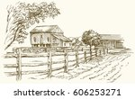 vintage landscape  new england...   Shutterstock .eps vector #606253271