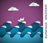 origami paper waves with clouds ... | Shutterstock .eps vector #606253445