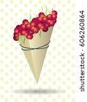 a packet of cherries | Shutterstock .eps vector #606260864