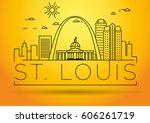 minimal st. louis linear city... | Shutterstock .eps vector #606261719