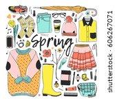 hand drawn fashion illustration.... | Shutterstock .eps vector #606267071