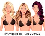 set of three cool hairstyles... | Shutterstock .eps vector #606268421