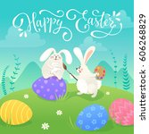 happy easter greeting card with ... | Shutterstock .eps vector #606268829