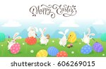 happy easter greeting card.... | Shutterstock .eps vector #606269015