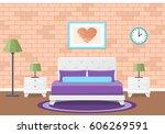 bedroom interior. vector flat... | Shutterstock .eps vector #606269591