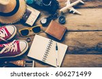 tourism planning and equipment... | Shutterstock . vector #606271499