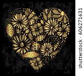 elegant gold ornamental heart... | Shutterstock .eps vector #606271631