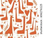 funny giraffes sketch  seamless ... | Shutterstock .eps vector #606276125