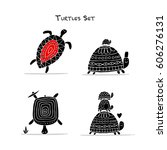 funny turtles set  sketch for... | Shutterstock .eps vector #606276131