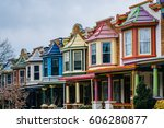 the colorful painted ladies row ... | Shutterstock . vector #606280877