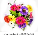 Stock photo colorful flowers arrangement of gerbera on white background 606286349