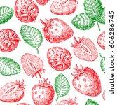 strawberry vector seamless... | Shutterstock .eps vector #606286745