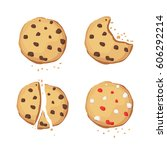 a set of chocolate cookies.... | Shutterstock .eps vector #606292214