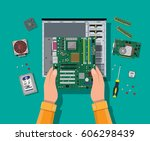 hands with motherboard  hard... | Shutterstock .eps vector #606298439