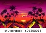 sunset on tropical beach with... | Shutterstock .eps vector #606300095