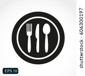 restaurant menu icon plate with ...   Shutterstock .eps vector #606300197