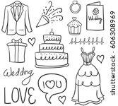 doodle of element wedding design | Shutterstock .eps vector #606308969