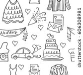 collection of element wedding... | Shutterstock .eps vector #606308981