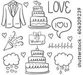 doodle of element wedding hand... | Shutterstock .eps vector #606309239