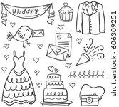 doodle of wedding object various   Shutterstock .eps vector #606309251