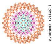 vector colorful mosaic mandala. ... | Shutterstock .eps vector #606310745