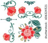 colorful floral collection of... | Shutterstock .eps vector #606324521