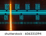 glowing radio with the marker...   Shutterstock . vector #606331094