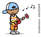 african cartoon boy with... | Shutterstock . vector #606332645