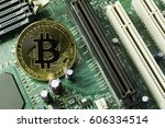 new crypto currency  bitcoin... | Shutterstock . vector #606334514