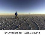 the world's largest salt flat ... | Shutterstock . vector #606335345