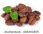 pile of coffee beans with a... | Shutterstock . vector #606341855