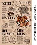 coffee food menu for restaurant ... | Shutterstock .eps vector #606348557