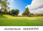 golf course at sunrise | Shutterstock . vector #606349595