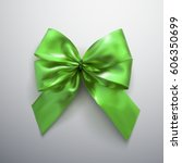 green bow and ribbons. vector... | Shutterstock .eps vector #606350699