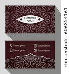 business card  vintage card set ... | Shutterstock .eps vector #606354161