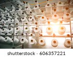 textile industry   yarn spools... | Shutterstock . vector #606357221