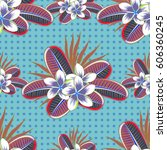 seamless texture of floral... | Shutterstock .eps vector #606360245