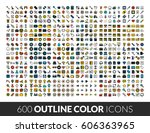 large icons set  600 outline... | Shutterstock .eps vector #606363965