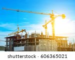 lots of tower construction site ... | Shutterstock . vector #606365021