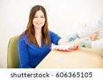 gorgeous hispanic woman smiling ...   Shutterstock . vector #606365105