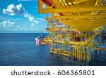 offshore oil and gas rig... | Shutterstock . vector #606365801